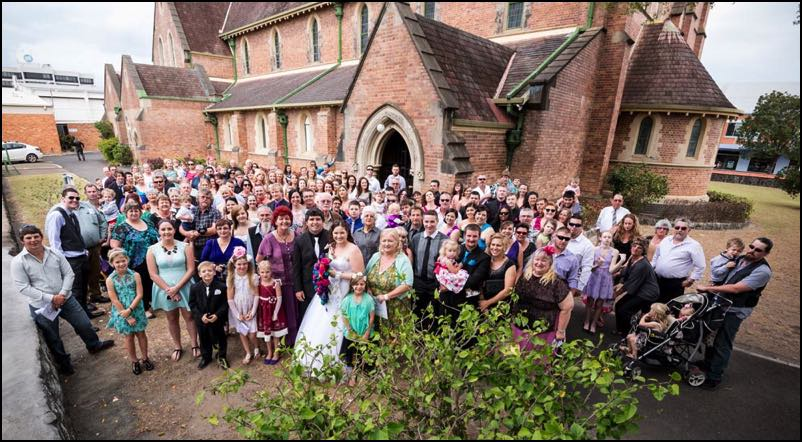 Bundaberg wedding photograph of guests outside church